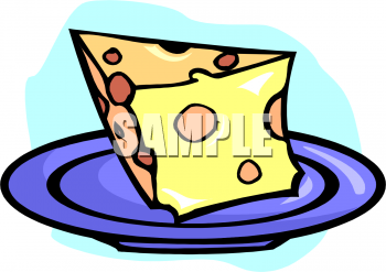 Clip Art Picture Of A Hunk Of Swiss Cheese On A Plate.
