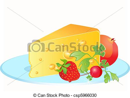 Vector Clipart of Tasty yellow cheese on a plate csp5966030.