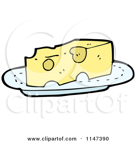 Cartoon of a Cheese Wedge on a Plate.