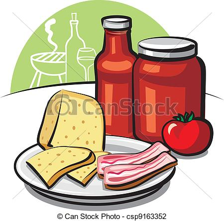 Vector Illustration of tomato sauce, cheese and bacon csp9163352.