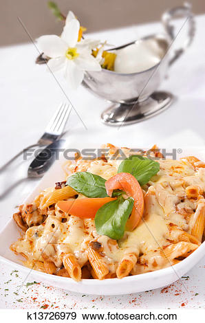 Stock Photograph of Pasta with meat and cheese sauce. k13726979.