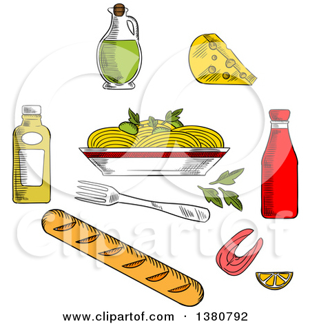 Clipart of Sketched Spaghetti, Sauce and Basil Encircled by.
