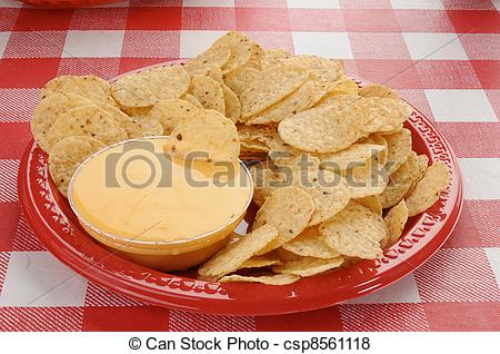 Pictures of Tortilla chips and cheese sauce.