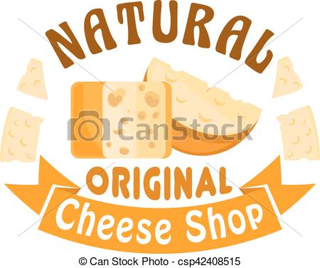Vector Clip Art of Cheese shop vector icon, badge, sign.
