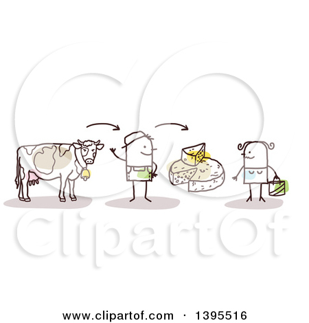 Clipart of a Sketched Stick Man Farmer Discussing Beef and Cheese.