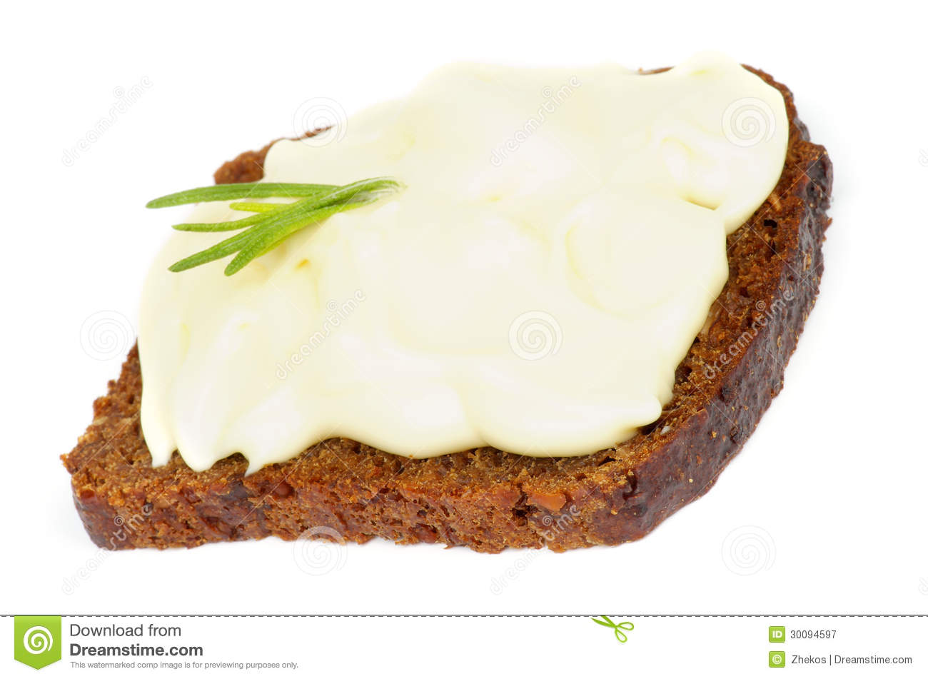 Cheese Spread Sandwich Royalty Free Stock Photography.
