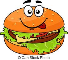 Vectors of Hamburger, cheeseburger and hot dog cartoon characters.