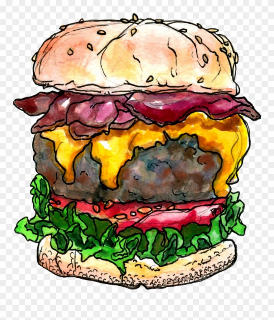 Junk Food Clipart Bacon Cheeseburger.