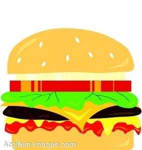 Clipart Illustration of a Cheeseburger With All the Trimmings.