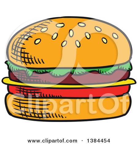 Clipart of a Sketched Cheeseburger.