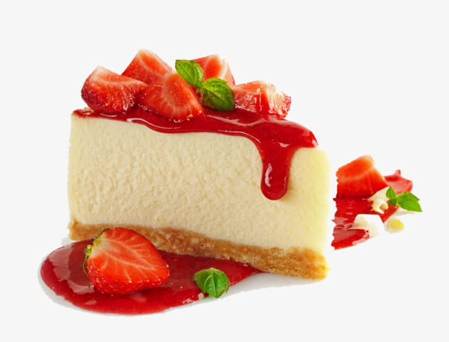 Strawberry cheesecake PNG clipart.