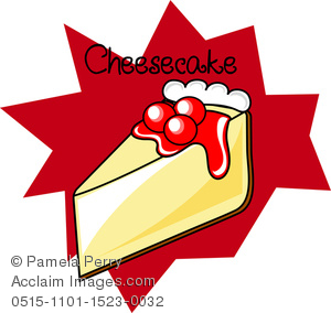 Clip Art Illustration of a Cherry Cheesecake Icon.