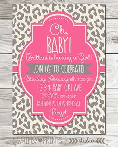 Cheetah Baby Shower Clipart Girl.