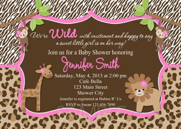 Leopard Print Baby Shower Invitations.