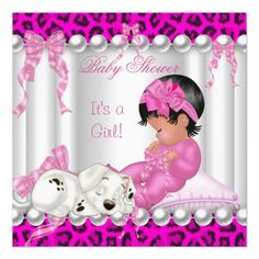 African American Baby Shower Clipart Girl.