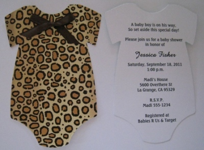 Leopard Animal Print Onesie Baby Shower Invitations.