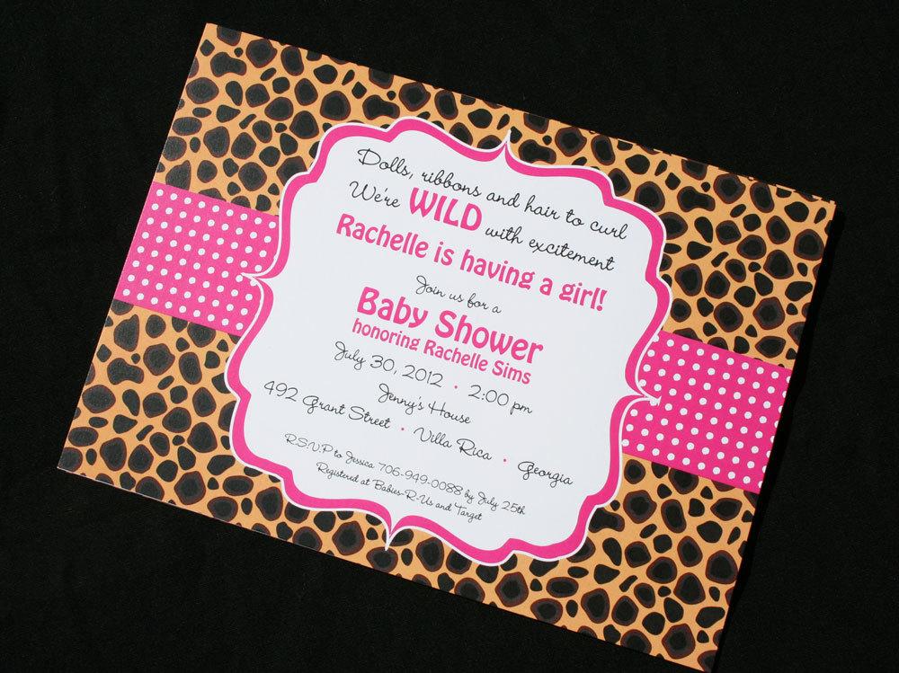 Cheetah Baby Shower Invitations.