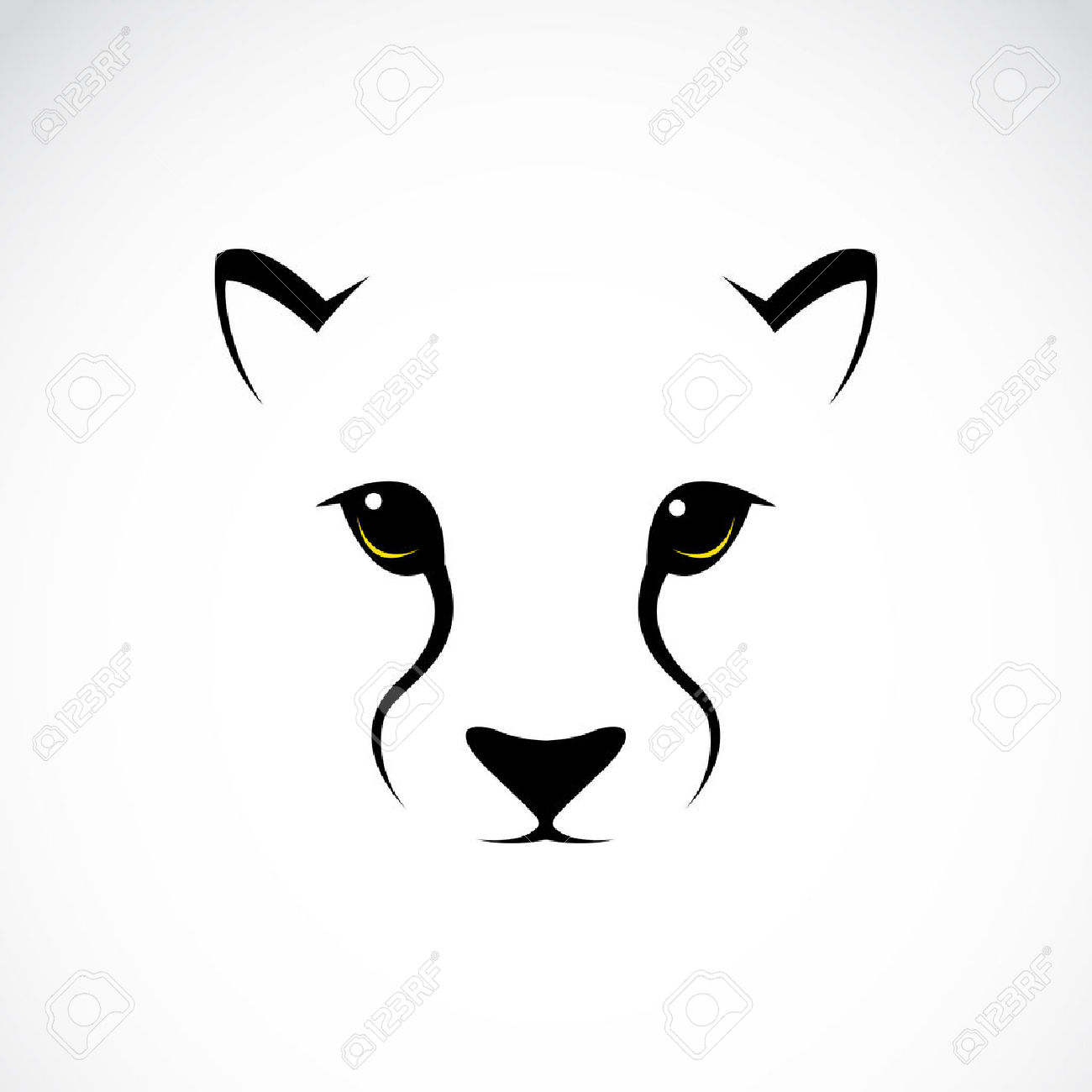 Vector Image Of An Cheetah Face On White Background Royalty Free.
