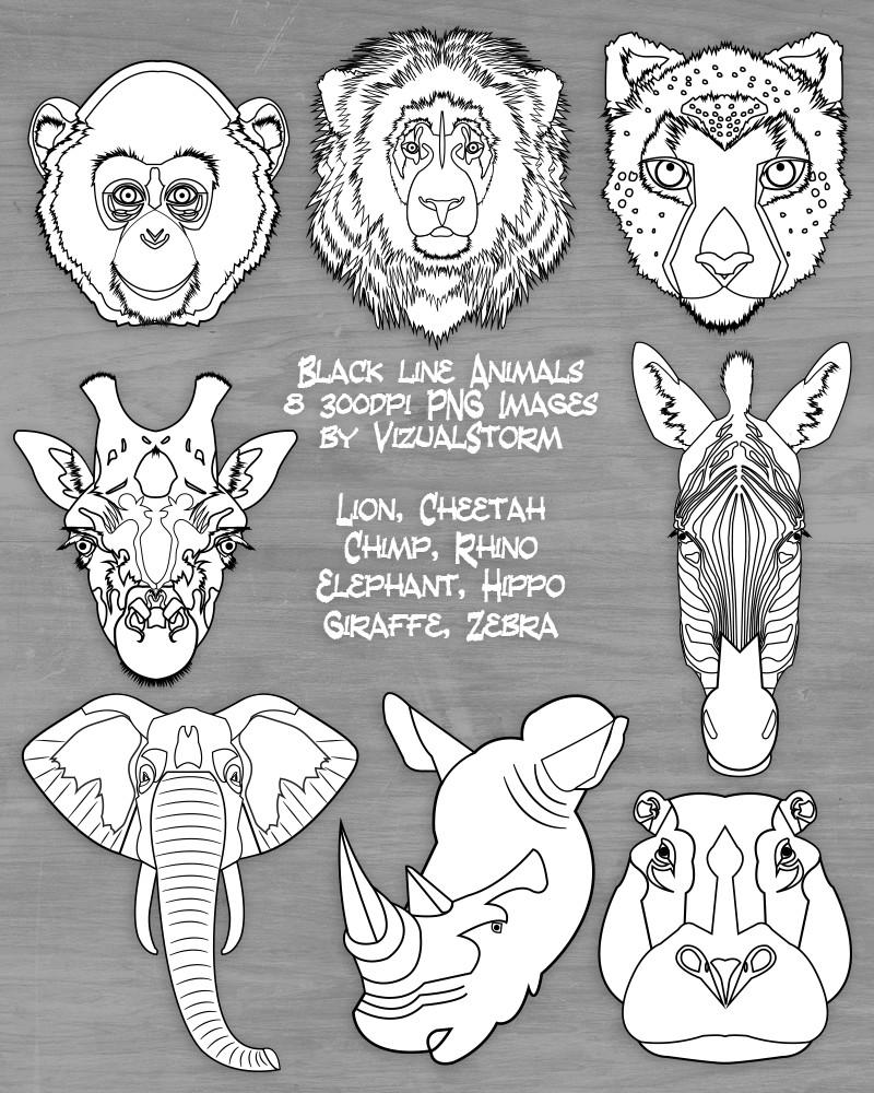Black and White Safari Animal Clipart Jungle Animal Drawings Zoo.