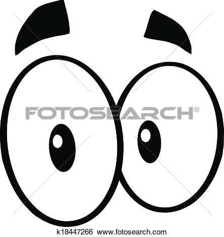 Clip Art of Black And White Mad Cartoon Eyes k18447266.