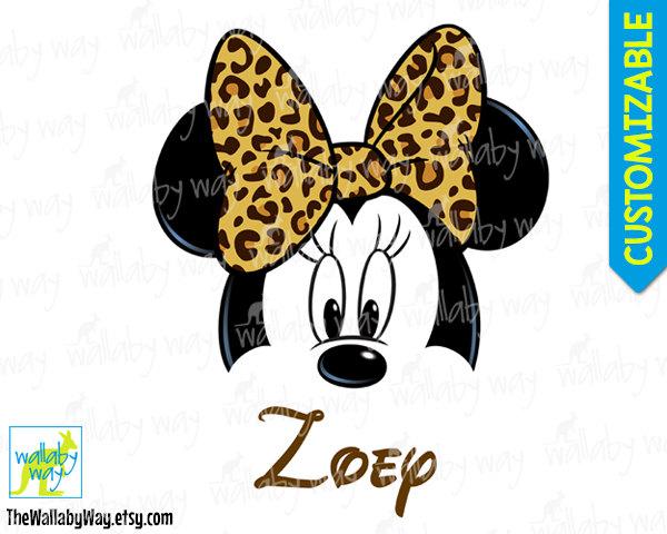 Minnie Leopard Bow Cheetah Print Printable Iron On Transfer or.