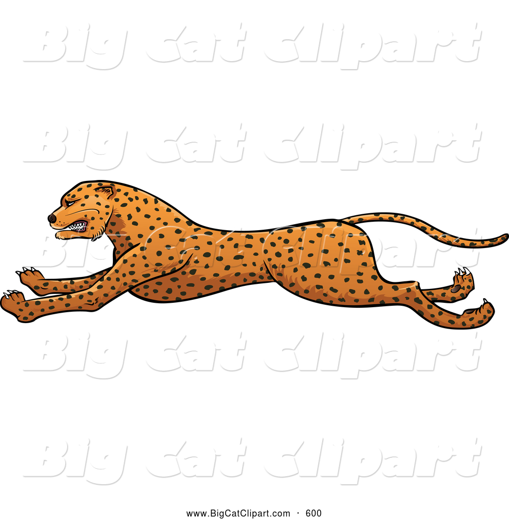 Big Cat Vector Clipart of a Friendly Running Cheetah in Profile by.