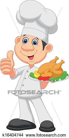 Chef cartoon with roasted chicken Clipart.