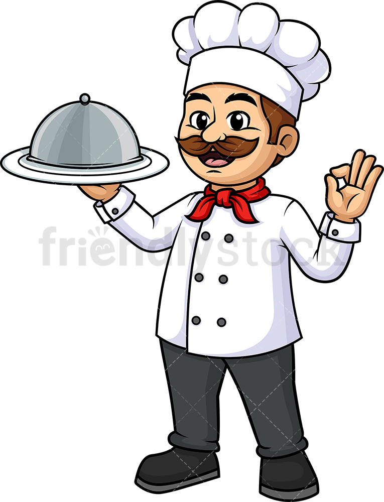Male Chef Holding Plate Cloche Dome Tray.