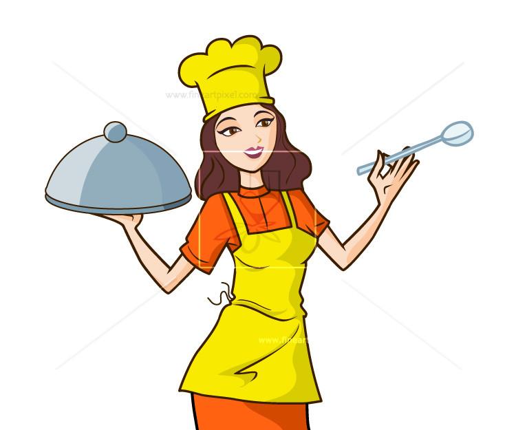 Woman chef illustration.