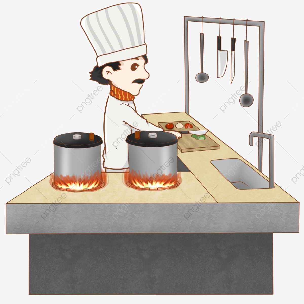 Food Chef Chef Cooking, Illustration, Chef Hat, Cartoon Character.