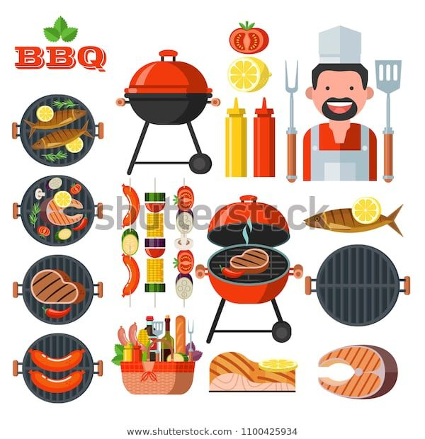 Barbecue, grill. Set of colorful clip art. Cheerful cook.