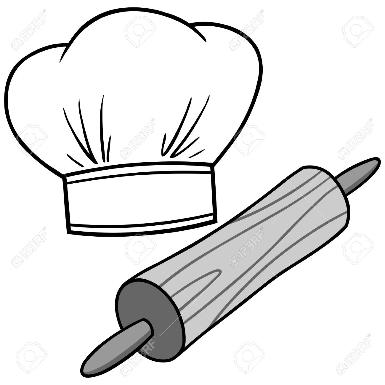 A vector cartoon illustration of a Chef Hat and Rolling Pin..
