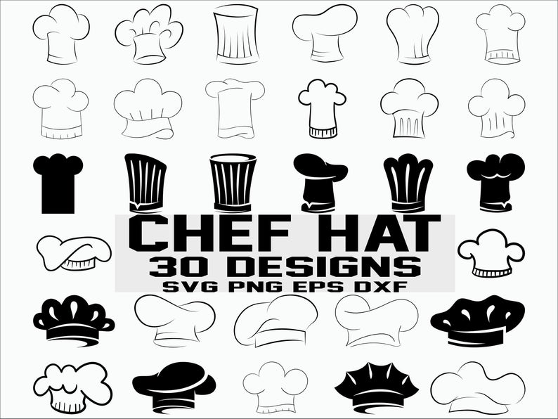 Chef Hat SVG/ chef svg/ chef hat clipart/ kitchen svg/ cook hat svg/  silhouette/ cricut/ cut file.
