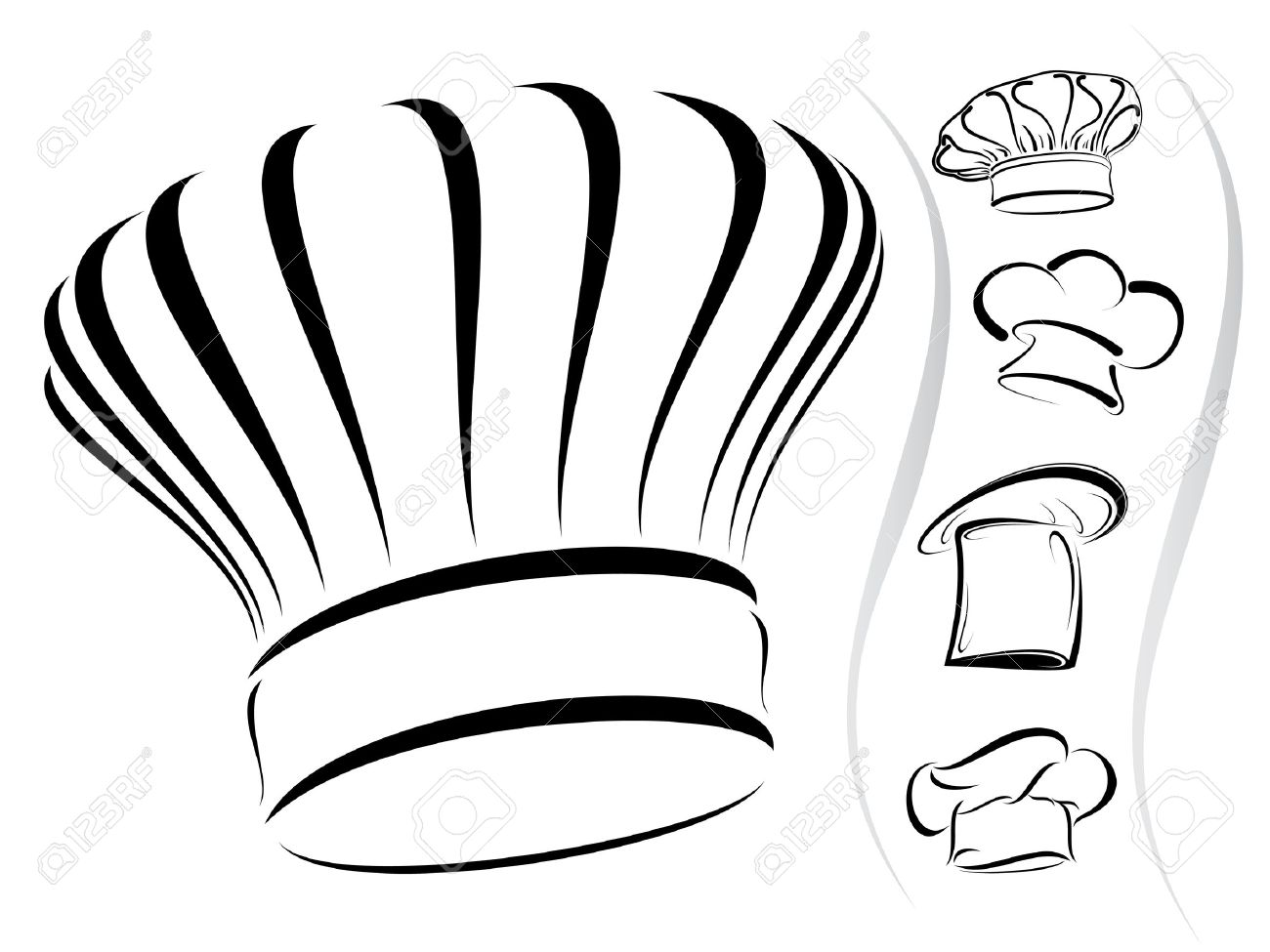 Five chef hat silhouettes.