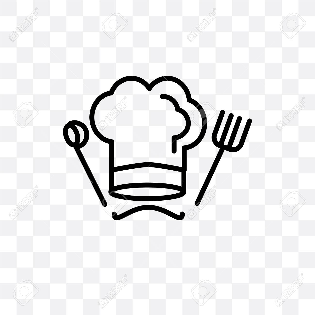 Chef hat vector icon isolated on transparent background, Chef...