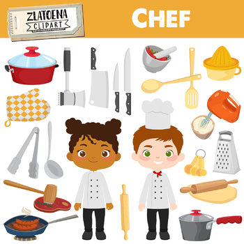 Chef Clipart Cooking Party clip art Cook Clipart Utensils Kitchen clipart.
