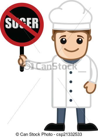 Vectors of Cartoon Chef Showing No Sugar Board.
