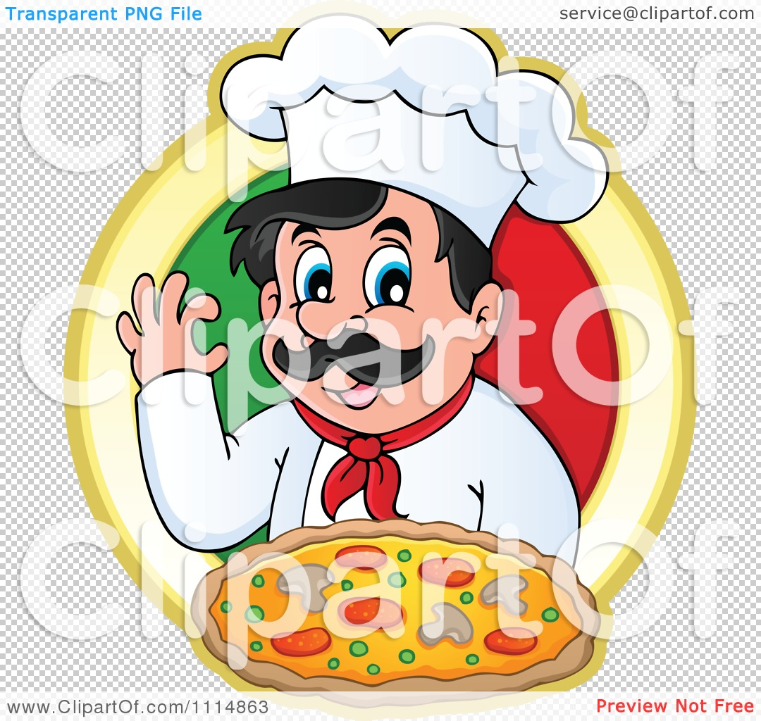 Clipart Pizza Chef Gesturing Ok And Holding Pizza Over An Italian.