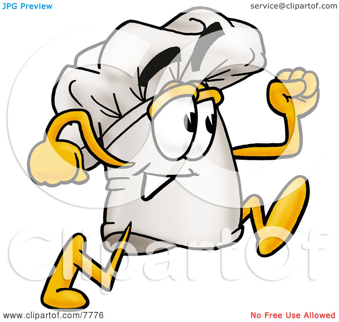 Clipart Picture of a Chefs Hat Mascot Cartoon Character Running by.