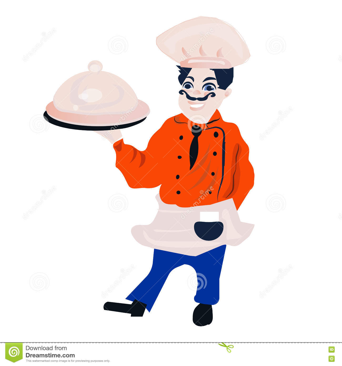 Funny Cartoon Restaurant Character, Merry Cook Icon, Isolated No.