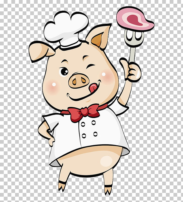 Domestic pig Cook , Wink pig, pig chef illustration PNG.