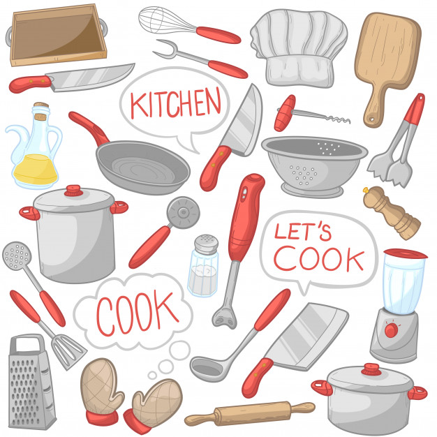 Kitchen tools cooking utensils clip art color icons Vector.