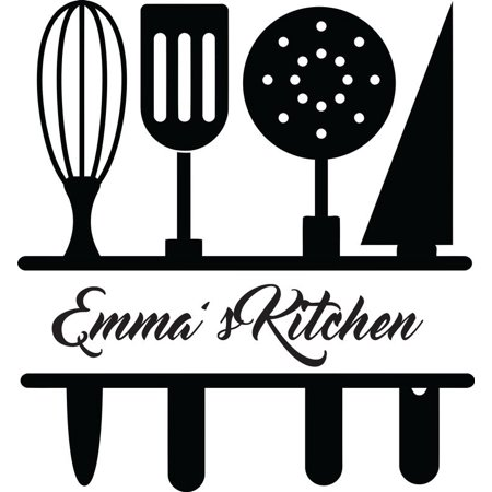 Personalized Name Vinyl Decal Sticker Custom Initial Wall Personalization  Home Decor Kitchen Chef Utensils Cooking Serving Spoons Gadget Set 12  Inches.