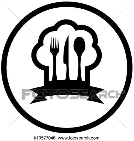 Food icon with chef hat and kitchen utensil Clip Art.