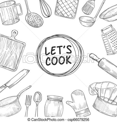 Lets cook. Cooking chef class sketch background. Culinary kitchen utensils  vintage vector illustration.