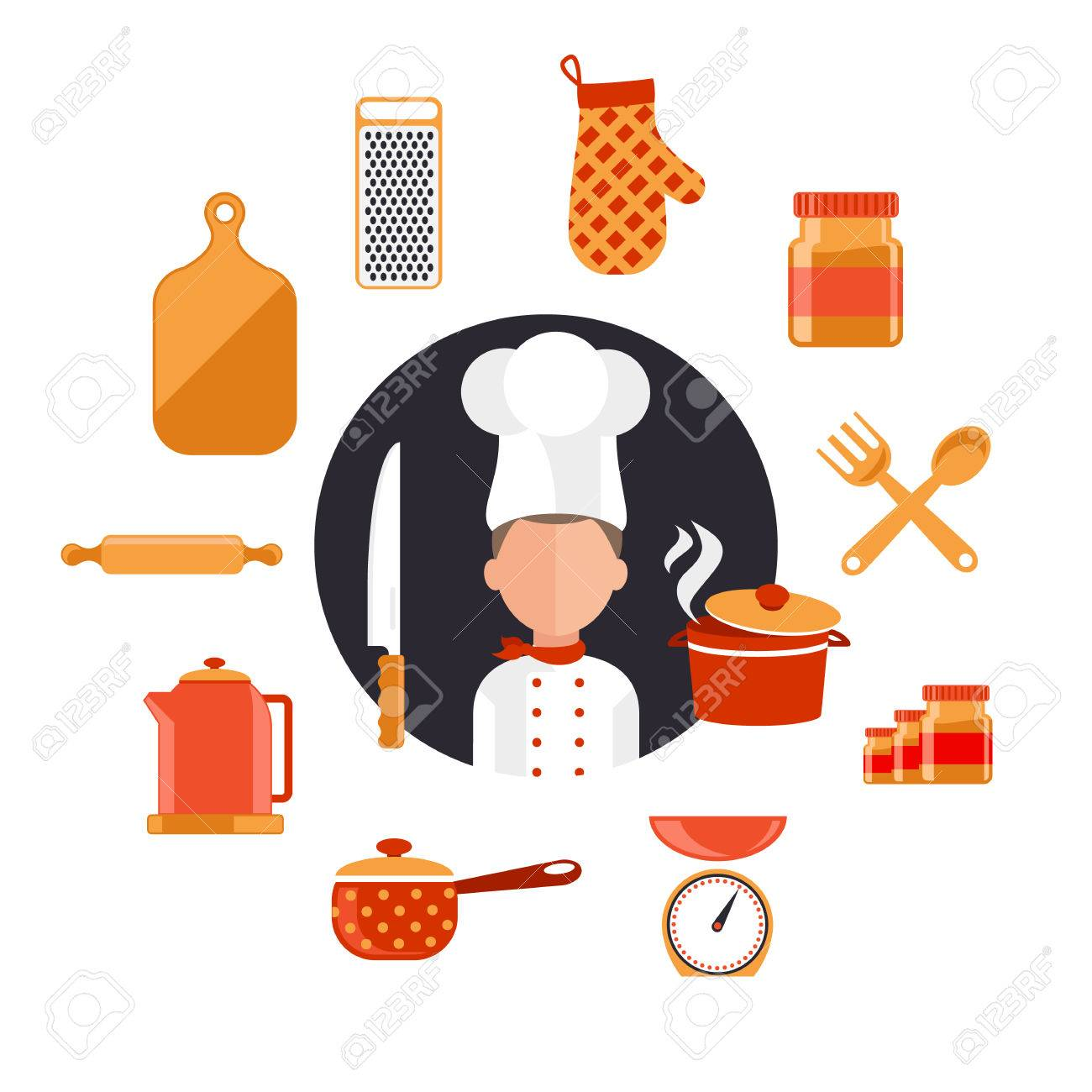 Flat design concept icons of kitchen utensils with a chef. Cooking...