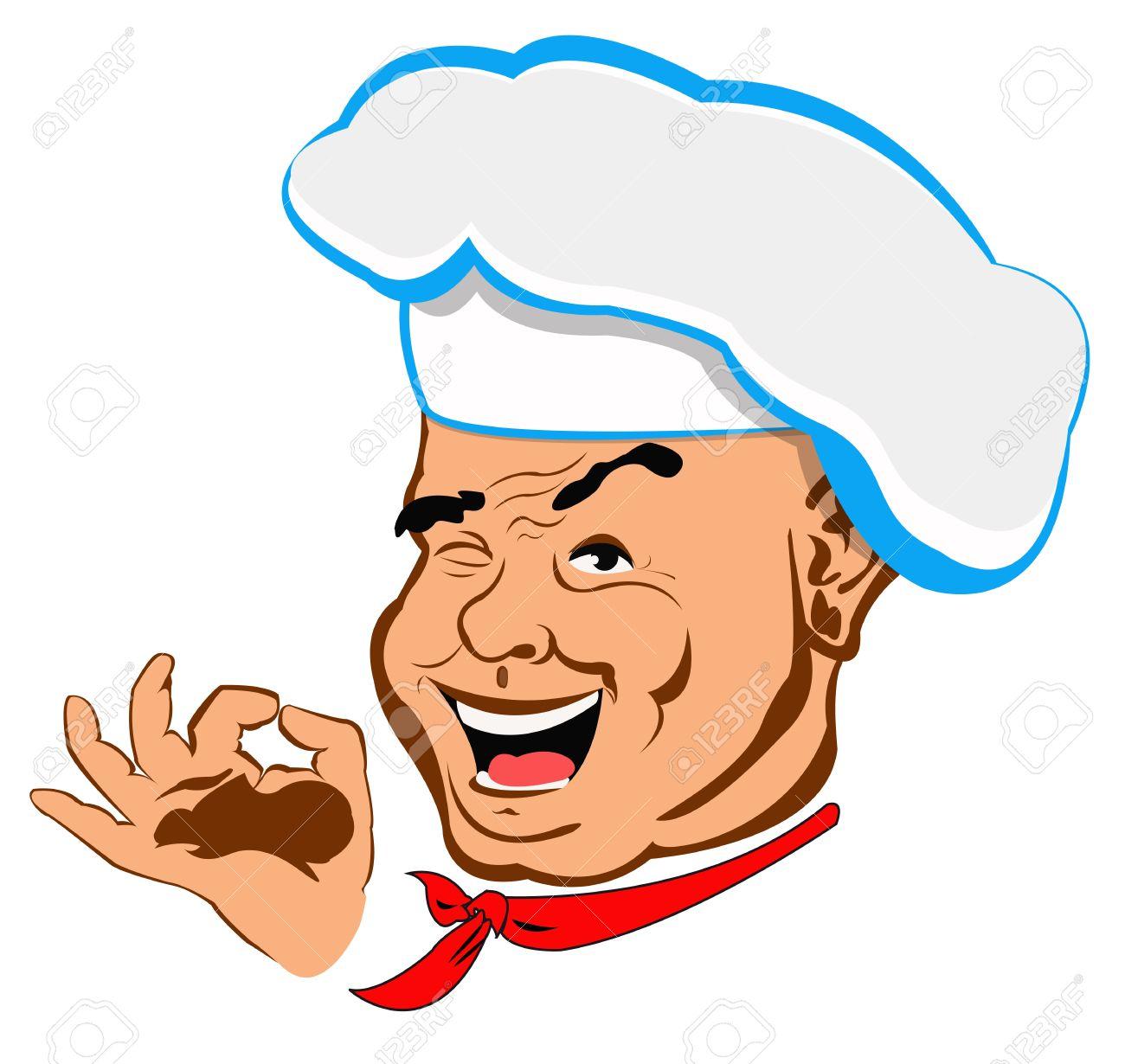 Happy joyful Chef on a white Restaurant business Vector.