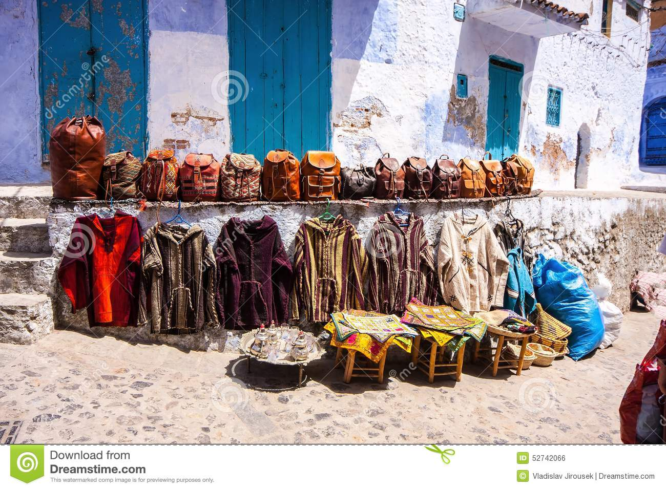 Handbags And Clothing Front Of The Shop, Chefchaouen, Morocco.