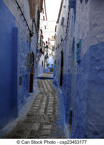 Picture of Blue Alley in Moroccan City Chefchaouen.