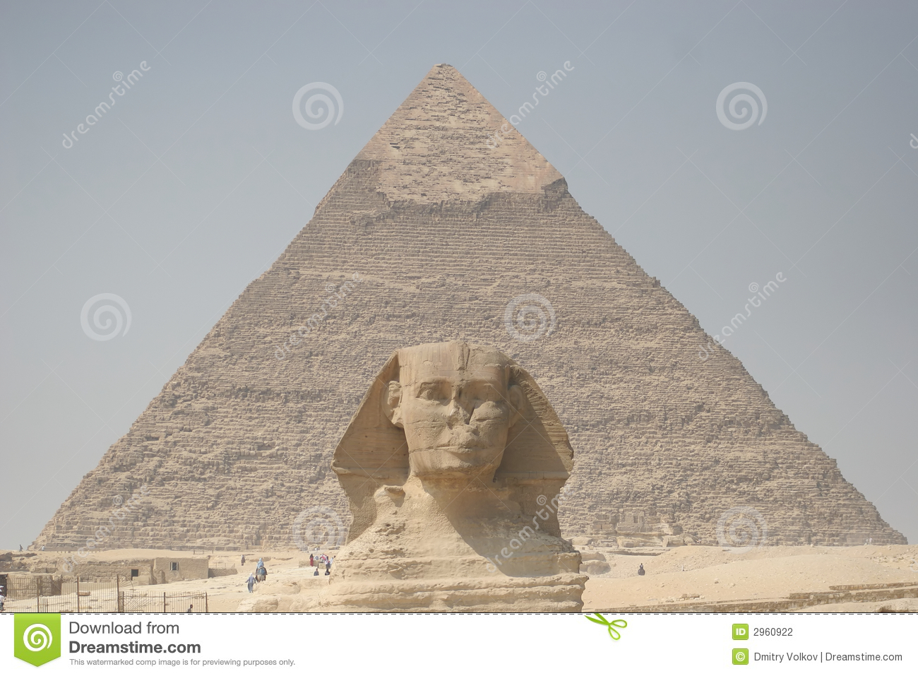 Sphinx And Chefren's Pyramid Stock Photography.